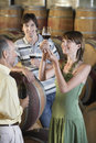 People tasting wine in cellar three beside casks Royalty Free Stock Images