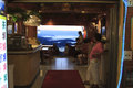People in a teahouse of jiufen north of taiwan watching the sunset Royalty Free Stock Photography