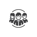 People, team icon vector, filled flat sign, solid pictogram isolated on white.