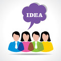 People team with idea message bubble
