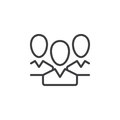 People, team line icon, outline vector sign, linear style pictogram isolated on white.