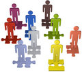 People team stand on puzzle pieces solution Stock Photography