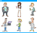 People with technology cartoon set