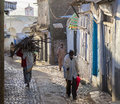 People in their morning routine activities that almost unchanged in more than four hundred years harar ethiopia of ancient walled Stock Images