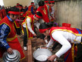 People in traditional costume exam to make round sticky rice cak hai duong vietnam march cake at cao temple festival on march hai Stock Photography