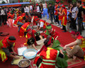 People in traditional costume exam to make square glutinous rice hai duong vietnam february cake at con son kiep bac festival on Stock Photo