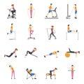 People Training At Gym Icons Set Royalty Free Stock Photo
