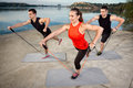 People training with resistance band Royalty Free Stock Photo