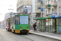 People at the tram stop poznan january entering just arrived glogowska street on january in poznan poland glogowska is one of Stock Photos