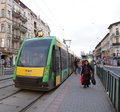 People at the tram stop poznan january entering just arrived glogowska street on january in poznan poland glogowska is one of Royalty Free Stock Photography