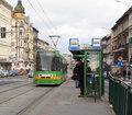 People at the tram stop poznan january waiting for arriving glogowska street on january in poznan poland glogowska is one of Royalty Free Stock Image
