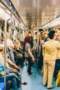People Travel By Subway Train In Downtown Bucharest City