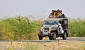 People travelling on jeep in gujrat india group of kutch Royalty Free Stock Images