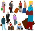 People Travelling Set 01 Royalty Free Stock Photography