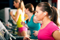 People on treadmill in gym running Royalty Free Stock Photo
