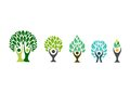 people tree logo,wellness symbol,fitness healthy icon set design vector Royalty Free Stock Photo