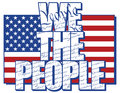 We the people type design filled with constitution of united states with american flag in background Royalty Free Stock Photography