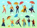 People under umbrellas in spring, walking outdoor in rainy spring day, man, woman in raincoat under rain clouds vector