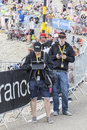 People using modern electronic devices to transmit data tour d mont ventoux france july two young men from the road mont ventoux Stock Photo