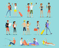 People Vacation Set Man and Woman
