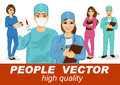 People vector with doctors, surgeons and nurses Royalty Free Stock Photo