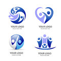 People vector logo set illustration concept of activity Stock Images