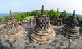 People visit the Borobudur temple in Indonesia Royalty Free Stock Photo