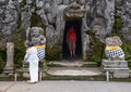 People visit the Hindu temple in Bali, Indonesia Royalty Free Stock Photo