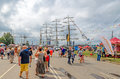 People visit The Tall Ships Races regatta in Riga.