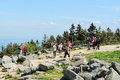 People visiting brocken mountain at harz national park germany saxony anhalt may in front a group of Stock Photos