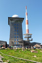 People visiting brocken mountain at harz national park germany saxony anhalt may on the peak are the Stock Photos