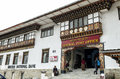 People visiting the busy General Post Office building at capital city Thimpu Royal Govt of Bhutan. Royalty Free Stock Photo