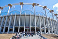 People Visiting the National Stadium Construction Royalty Free Stock Photo