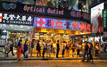 People wait and line up for the minibus in the causeway bay downtown area of hong kong Stock Photography