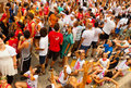 People wait for the start of la tomatina festival bunol spain august in august in bunol spain where Stock Photo