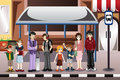 People waiting for a bus vector illustration of in stop Stock Images
