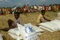 People waiting for food distribution in Burundi. Royalty Free Stock Photo