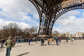 People waiting in long queue at eiffel tower in paris france the is one of the most famous landmarks and sights Stock Photos