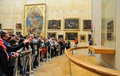 People waiting on queue to see the mona lisa painting at the louvre museum musee du louvre paris mar march in paris france Royalty Free Stock Images