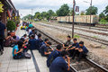People waiting for a train lopburi thailand august on august in lopburi thailand the city is best known the hundreds of crab Stock Photography