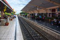 People waiting for a train lopburi thailand august on august in lopburi thailand the city is best known the hundreds of crab Royalty Free Stock Photos