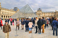 People waiting using a queue to visit the louvre paris mar museum musee du on march in paris france Royalty Free Stock Image