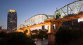 People Walk Across Cumberland River Pedestrian Bridge Nashville Royalty Free Stock Photo