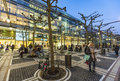 People walk along the Zeil in the evening in Frankfurt Royalty Free Stock Photo