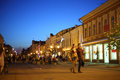 People walk on leningradskaya street samara may in city center at evening may in samara russia the most popular in Stock Photography