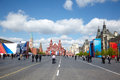 People walk on Red Square after parade Royalty Free Stock Photography