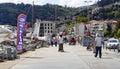 People walk on sidewalk between Bebek and Rumeli Hisari neighborhoods