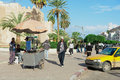 People walk by the street in sfax tunisia november unidentified Royalty Free Stock Photos