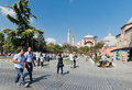 People walk daily in sultan ahmet square in downtown of istanbul turkey august on august turkey is Stock Images