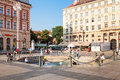 People walking around mandusevac fountain in zagreb croatia on main city square ancient was buried and revealed and Royalty Free Stock Photo